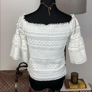 190d542e6ff67 Lucy Paris Tops - Lucy Paris Lace Off-the-Shoulder White Top